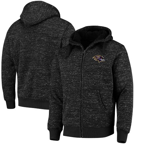 Men's Baltimore Ravens G-III Sports by Carl Banks Heathered Black Discovery Sherpa Full-Zip Jacket