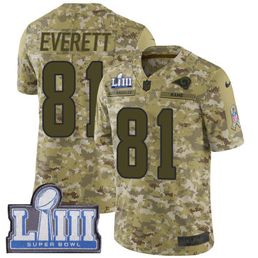 #81 Limited Gerald Everett Camo Nike NFL Men's Jersey Los Angeles Rams 2018 Salute to Service Super Bowl LIII Bound