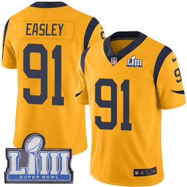 #91 Limited Dominique Easley Gold Nike NFL Men's Jersey Los Angeles Rams Rush Vapor Untouchable Super Bowl LIII Bound