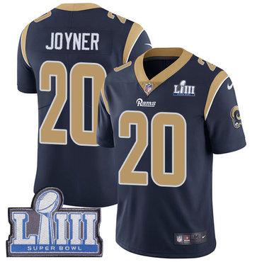 #20 Limited Lamarcus Joyner Navy Blue Nike NFL Home Men's Jersey Los Angeles Rams Vapor Untouchable Super Bowl LIII Bound