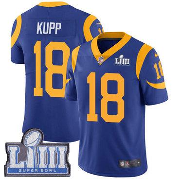 #18 Limited Cooper Kupp Royal Blue Nike NFL Alternate Men's Jersey Los Angeles Rams Vapor Untouchable Super Bowl LIII Bound