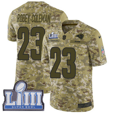 #23 Limited Nickell Robey-Coleman Camo Nike NFL Men's Jersey Los Angeles Rams 2018 Salute to Service Super Bowl LIII Bound