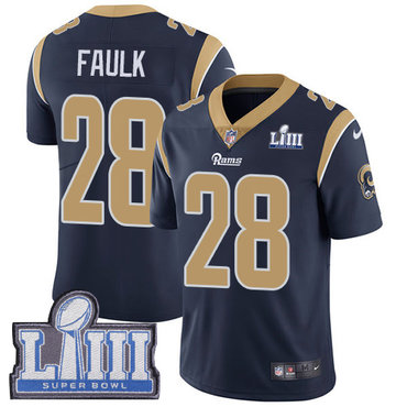 #28 Limited Marshall Faulk Navy Blue Nike NFL Home Men's Jersey Los Angeles Rams Vapor Untouchable Super Bowl LIII Bound