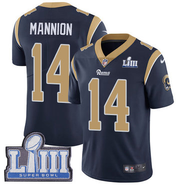 Men's Los Angeles Rams #14 Sean Mannion Navy Blue Nike NFL Home Vapor Untouchable Super Bowl LIII Bound Limited Jersey