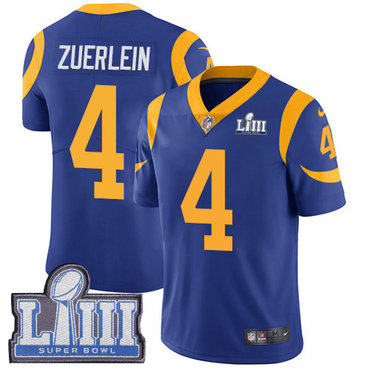 Men's Los Angeles Rams #4 Greg Zuerlein Royal Blue Nike NFL Alternate Vapor Untouchable Super Bowl LIII Bound Limited Jersey