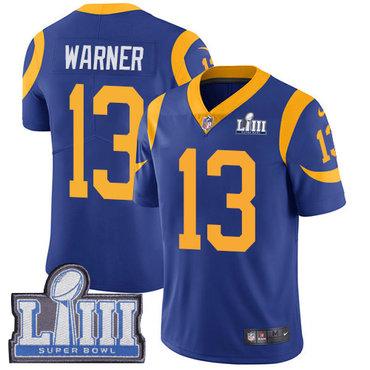 Men's Los Angeles Rams #13 Kurt Warner Royal Blue Nike NFL Alternate Vapor Untouchable Super Bowl LIII Bound Limited Jersey