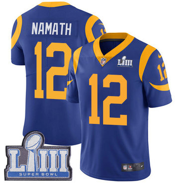 Men's Los Angeles Rams #12 Joe Namath Royal Blue Nike NFL Alternate Vapor Untouchable Super Bowl LIII Bound Limited Jersey