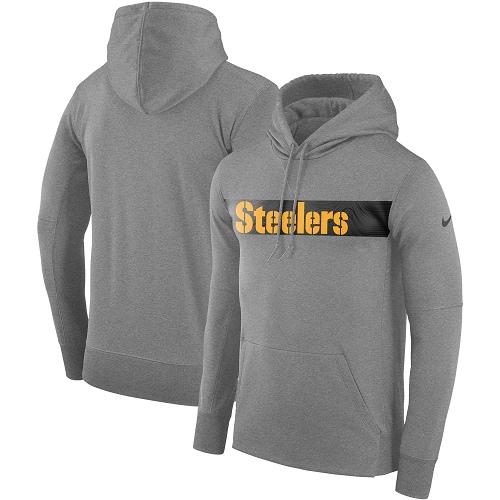 Men's Pittsburgh Steelers Nike Gray Sideline Team Performance Pullover Hoodie