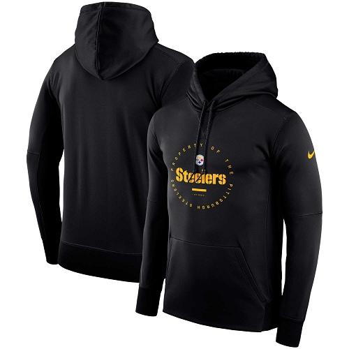 Men's Pittsburgh Steelers Nike Black Sideline Property Of Wordmark Logo Performance Pullover Hoodie