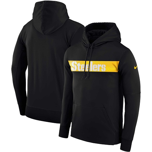 Men's Pittsburgh Steelers Nike Black Sideline Team Performance Pullover Hoodie