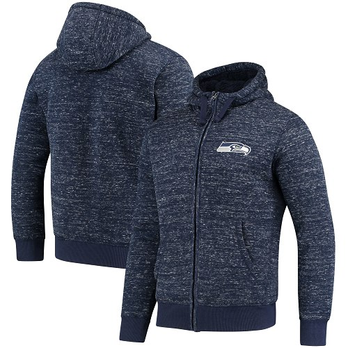 Men's Seattle Seahawks G-III Sports by Carl Banks Heathered College Navy Discovery Sherpa Full-Zip Jacket