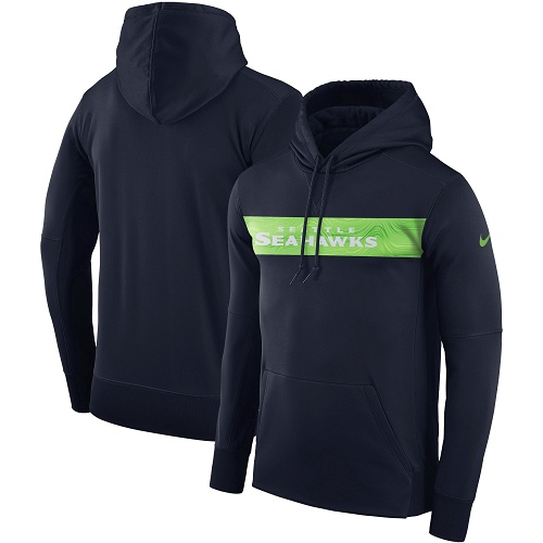 Men's Seattle Seahawks Nike College Navy Sideline Team Performance Pullover Hoodie