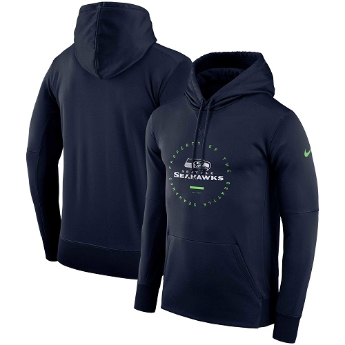 Men's Seattle Seahawks Nike College Navy Sideline Property Of Wordmark Logo Performance Pullover Hoodie