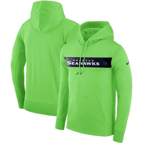 Men's Seattle Seahawks Nike Neon Green Sideline Team Performance Pullover Hoodie