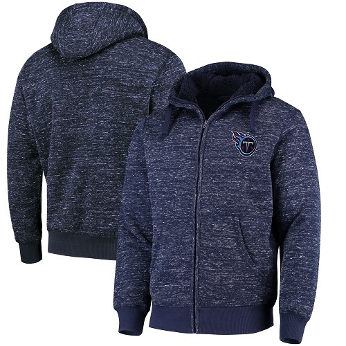 Men's Tennessee Titans G-III Sports by Carl Banks Heathered Navy Discovery Sherpa Full-Zip Jacket