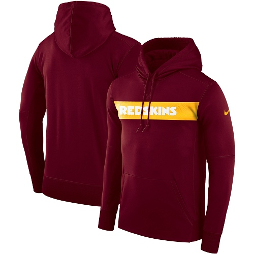 Men's Washington Redskins Nike Burgundy Sideline Team Performance Pullover Hoodie