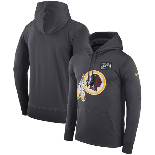 Men's Washington Redskins Nike Anthracite Crucial Catch Performance Pullover Hoodie