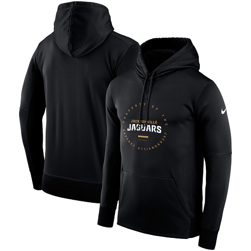 Men's Jacksonville Jaguars Nike Black Sideline Property Of Wordmark Logo Performance Pullover Hoodie