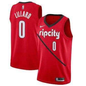 Men's Portland Trail Blazers 0 Damian Lillard Nike Red 2018-19 Swingman Earned Edition Jersey