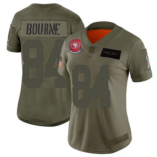 San Francisco 49ers Women's #84 Kendrick Bourne Olive Limited 2019 Salute to Service Jersey