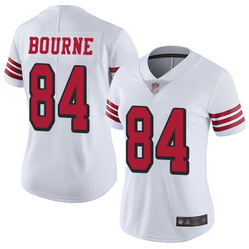 San Francisco 49ers Women's #84 Kendrick Bourne White Limited Color Rush Vapor Untouchable Jersey