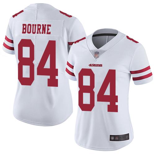 San Francisco 49ers Women's #84 Kendrick Bourne White Limited Road Vapor Untouchable Jersey