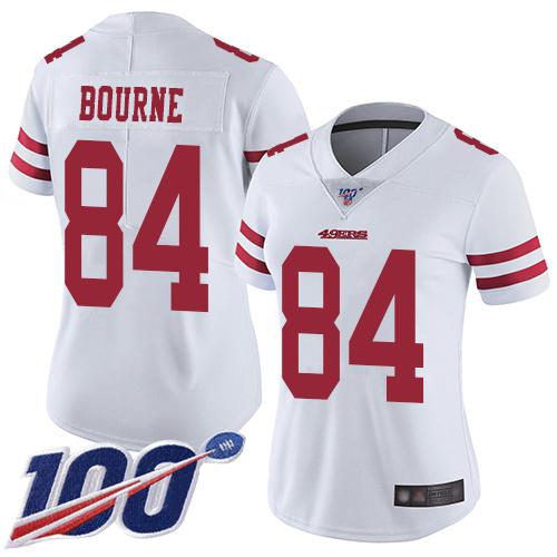 San Francisco 49ers Women's #84 Kendrick Bourne White Limited Road 100th Season Vapor Untouchable Jersey