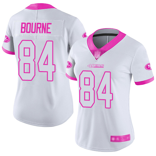 San Francisco 49ers Women's #84 Kendrick Bourne White Pink Limited Color Rush Fashion Jersey