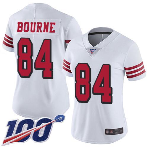 San Francisco 49ers Women's #84 Kendrick Bourne White Limited 100th Season Color Rush Vapor Untouchable Jersey