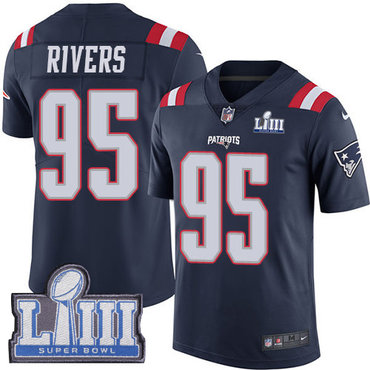 Men's New England Patriots #95 Derek Rivers Navy Blue Nike NFL Rush Vapor Untouchable Super Bowl LIII Bound Limited Jersey
