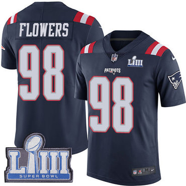 #98 Limited Trey Flowers Navy Blue Nike NFL Men's Jersey New England Patriots Rush Vapor Untouchable Super Bowl LIII Bound