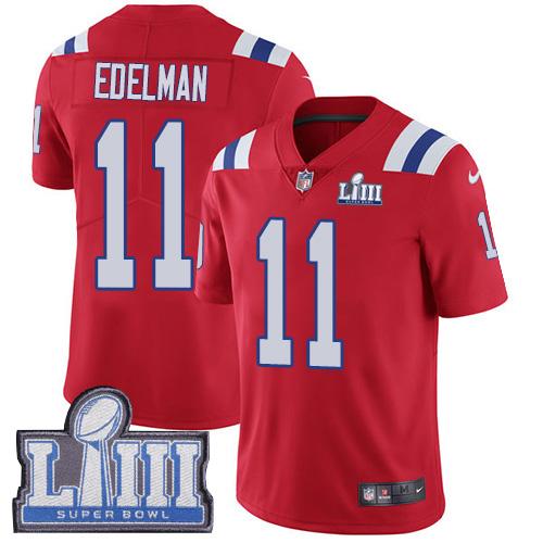 Men's New England Patriots #11 Julian Edelman Red Nike NFL Alternate Vapor Untouchable Super Bowl LIII Bound Limited Jersey