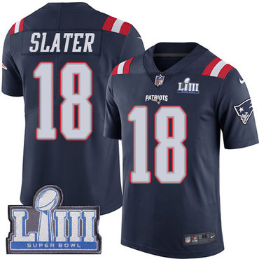 Men's New England Patriots #18 Matthew Slater Navy Blue Nike NFL Rush Vapor Untouchable Super Bowl LIII Bound Limited Jersey