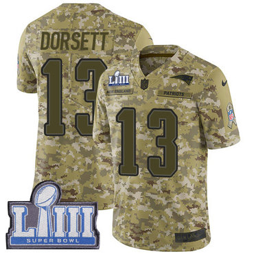 Men's New England Patriots #13 Phillip Dorsett Camo Nike NFL 2018 Salute to Service Super Bowl LIII Bound Limited Jersey