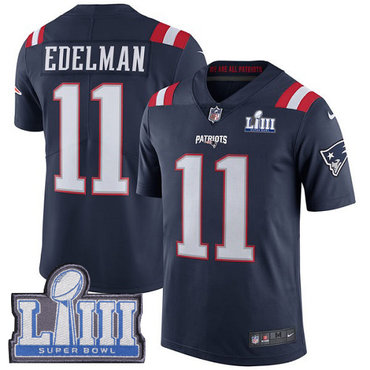 Men's New England Patriots #11 Julian Edelman Navy Blue Nike NFL Rush Vapor Untouchable Super Bowl LIII Bound Limited Jersey