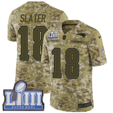 Men's New England Patriots #18 Matthew Slater Camo Nike NFL 2018 Salute to Service Super Bowl LIII Bound Limited Jersey