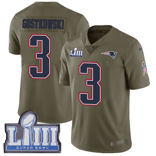 Men's New England Patriots #3 Stephen Gostkowski Olive Nike NFL 2017 Salute to Service Super Bowl LIII Bound Limited Jersey