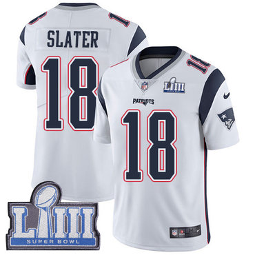 #18 Limited Matthew Slater White Nike NFL Road Men's Jersey New England Patriots Vapor Untouchable Super Bowl LIII Bound