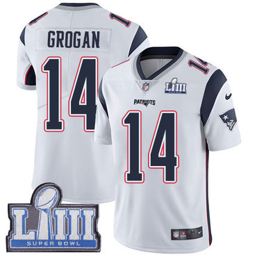 #14 Limited Steve Grogan White Nike NFL Road Men's Jersey New England Patriots Vapor Untouchable Super Bowl LIII Bound
