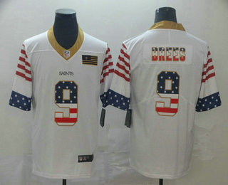 Men's New Orleans Saints #9 Drew Brees White Independence Day Stars Stripes Jersey