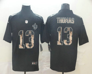 Men's New Orleans Saints #13 Michael Thomas 2019 Black Statue Of Liberty Stitched NFL Nike Limited Jersey