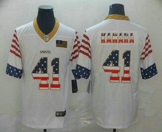 Men's New Orleans Saints #41 Alvin Kamara White Independence Day Stars Stripes Jersey
