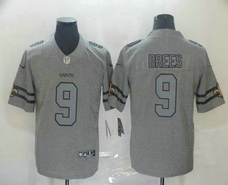 Men's New Orleans Saints #9 Drew Brees 2019 Gray Gridiron Vapor Untouchable Stitched NFL Nike Limited Jersey
