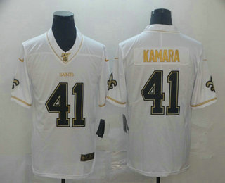 Men's New Orleans Saints #41 Alvin Kamara White 100th Season Golden Edition Jersey
