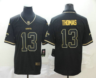 Men's New Orleans Saints #13 Michael Thomas Black 100th Season Golden Edition Jersey