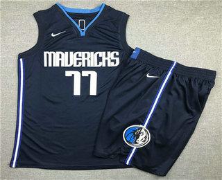 Men's Dallas Mavericks #77 Luka Doncic NEW Navy Blue 2020 NBA Swingman Stitched NBA Jersey With Shorts