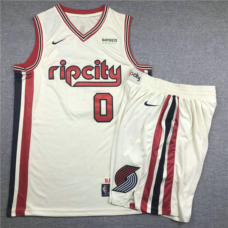 Men's Portland Trail Blazers #0 Damian Lillard Cream 2020 City Edition NBA Swingman Jersey With Shorts