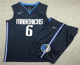 Men's Dallas Mavericks #6 Kristaps Porzingis NEW Navy Blue 2020 NBA Swingman Stitched NBA Jersey With Shorts