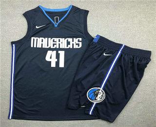 Men's Dallas Mavericks #41 Dirk Nowitzki NEW Navy Blue 2020 NBA Swingman Stitched NBA Jersey With Shorts