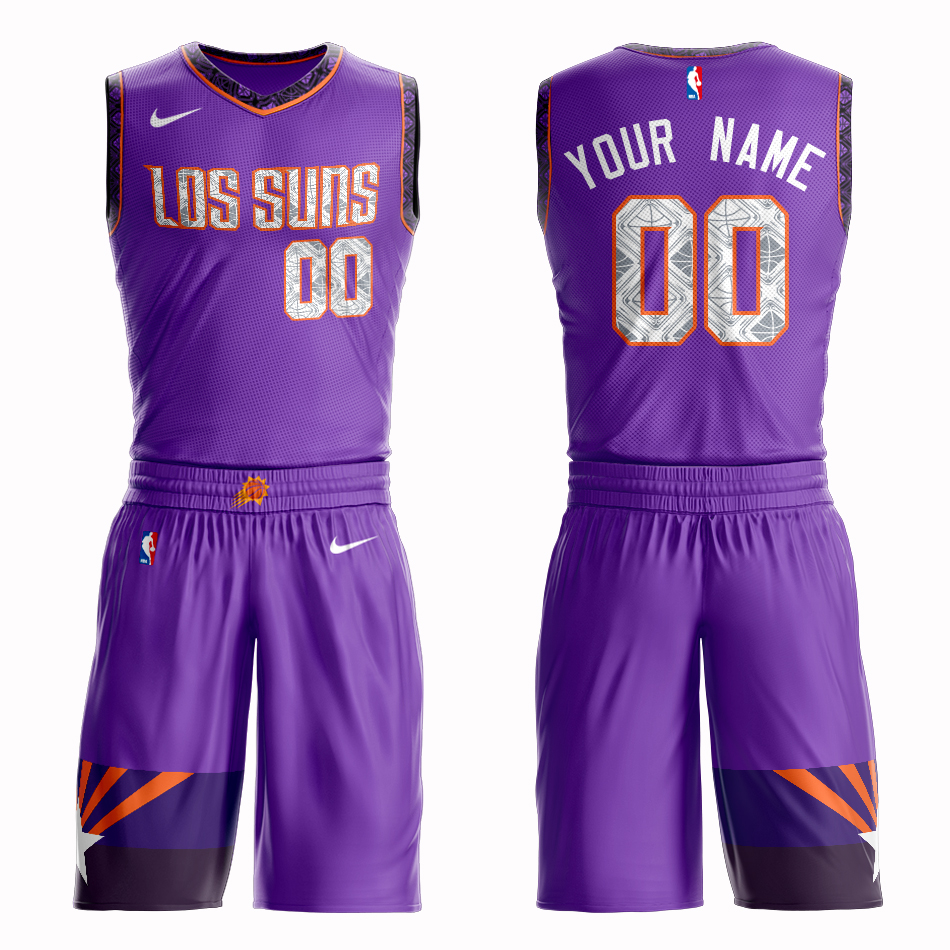 Suns Purple Men's Customized Nike Swingman Jersey(With Shorts)
